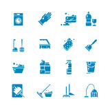 Cleaning products and services silhouette vector icons. Washing supplies and housework black symbols. Detergent and soap, glove and sponge illustration royalty free illustration
