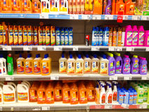 Cleaning products in supermarket Stock Image
