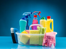 Cleaning products and supplies Royalty Free Stock Photography