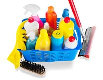 Cleaning Products and Supplies in Basket  - Royalty Free Stock Photography