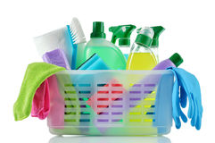 Cleaning products and supplies in a basket. Royalty Free Stock Photos