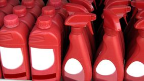 Cleaning products. vehicles windscreen. screenwash bottles. Royalty Free Stock Photo