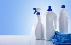 Cleaning products on white table overview Royalty Free Stock Photo