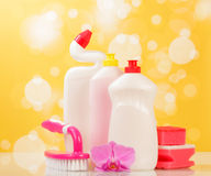 Cleaning products on yellow Royalty Free Stock Photos