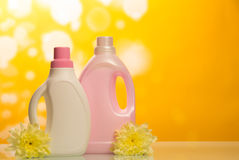 Cleaning products on yellow Stock Images
