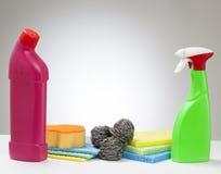 Cleaning produkt z punktu światłem biały tło Zdjęcie Royalty Free