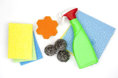 Cleaning produkty od above Zdjęcia Royalty Free