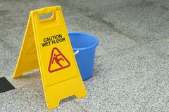 Cleaning progress caution sign in office Royalty Free Stock Photo