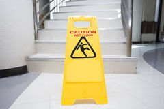 Cleaning progress caution sign in office Stock Images