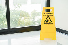 Cleaning progress caution sign in office Royalty Free Stock Photography
