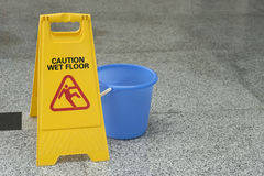 Cleaning progress caution sign in office Royalty Free Stock Image