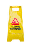 Cleaning progress caution sign on white background. Stock Images