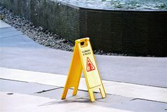 Cleaning In Progress Yellow Plastic Warning Sign Royalty Free Stock Photography