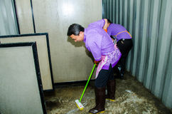Cleaning pubic toilet Stock Images