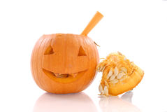 Cleaning the Pumpkin Royalty Free Stock Image
