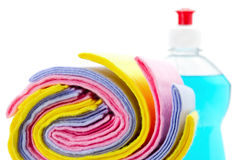 Cleaning rag with bottle dish washing liquid stock photography