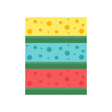 Cleaning rag forhouse flat vector illustration. Cellulose sponges color cleaning rag for housekeeping cleanness sanitation folded material. Vector illustration Stock Photos