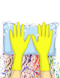 Cleaning with rags and gloves Stock Photography