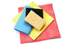 Cleaning rags and sponges. Isolated on white background Royalty Free Stock Images