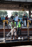 Cleaning of railway station in india Royalty Free Stock Photography