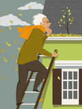 Cleaning a rain gutter royalty free illustration