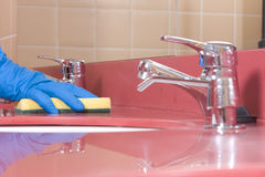 Cleaning red  Bathroom Sink near view Stock Photography