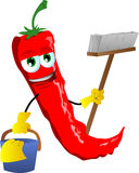 Cleaning red hot chili pepper Royalty Free Stock Photography