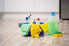 Cleaning and repair products, household chemicals, rubber gloves, basin for cleaning the apartment and office royalty free stock photos