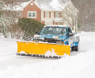 Cleaning road after snowstorm Royalty Free Stock Photo