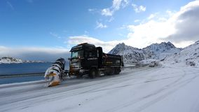 Cleaning of roads in Norway stock video footage