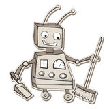 Cleaning robot. Retro style cartoon robot with broom and dustpan Royalty Free Stock Photos