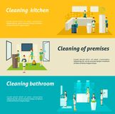 Cleaning In Rooms Flat Banners Set Royalty Free Stock Image