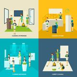 Cleaning In Rooms Flat Icons Set Royalty Free Stock Images