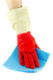 Cleaning rubber gloves with rag. Isolated Stock Image