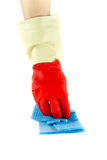 Cleaning rubber gloves with rag. Isolated Royalty Free Stock Photos