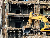 Cleaning the ruins. Cleaning after the demolition of the building Royalty Free Stock Images