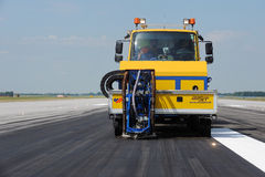 Cleaning of the runway at the airport Royalty Free Stock Photography