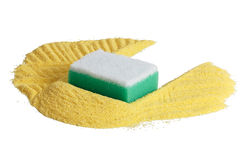 Cleaning sand sponge. Objects on a white background Royalty Free Stock Photography