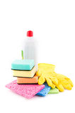 Cleaning and sanitation products Royalty Free Stock Images