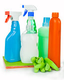 Cleaning and sanitation products studio isolated Royalty Free Stock Photos