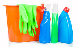 Cleaning and sanitation products studio Royalty Free Stock Photography