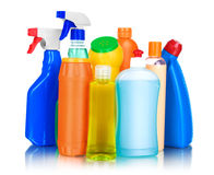 Cleaning and sanitation products studio isolated Royalty Free Stock Images