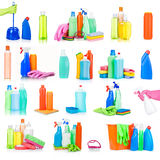 Cleaning and sanitation products studio isolated Stock Images