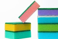 The cleaning scouring sponges. The color cleaning porolonovy scouring sponges and other stock Royalty Free Stock Image