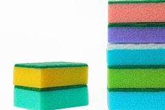 The cleaning scouring sponges. The color cleaning porolonovy scouring sponges and other stock Stock Photography