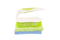 Cleaning scrub brush on sponges Royalty Free Stock Photos