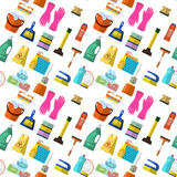Cleaning  seamless pattern. Cleaning washing housework dishes broom bottle sponge icons seamless pattern vector illustration. Background for backdrop to site Royalty Free Stock Images
