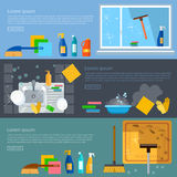 Cleaning service banners home cleaning washing windows. Carpet cleaning washing dishes vector illustration Royalty Free Stock Photos