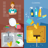 Cleaning service banners house cleaning Royalty Free Stock Photography