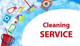 Free Cleaning Service Blue Background. Poster Or Banner With Soap Bubbles And Tools, Cleaning Products For Cleanliness. Vector Stock Photo - 138375560
